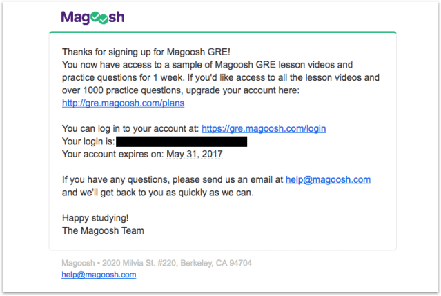magoosh onboarding email