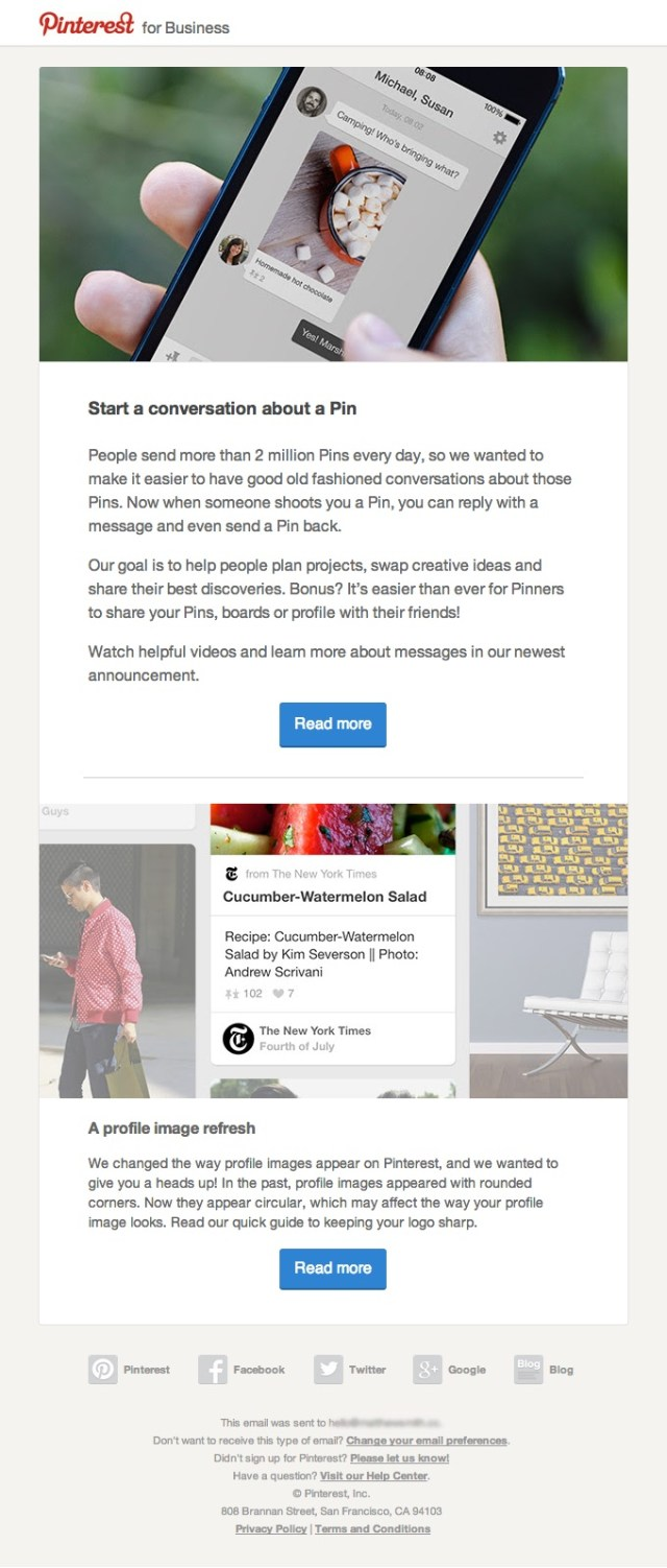 pinterest followup email