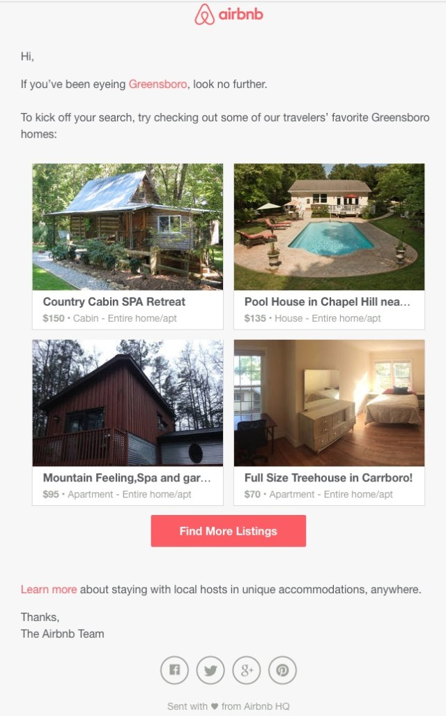 airbnb destinations triggered email