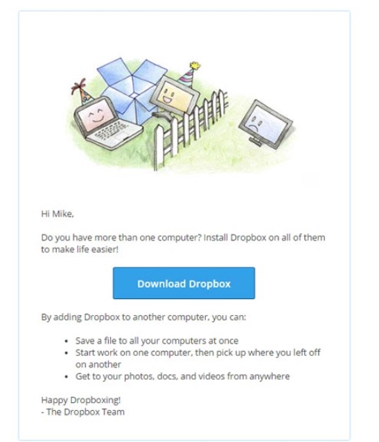 dropbox download email