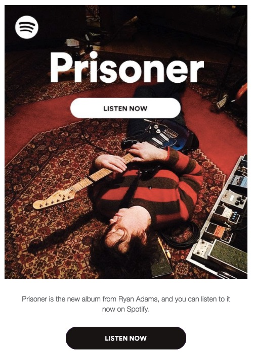 ryan adams prisoner spotify release email