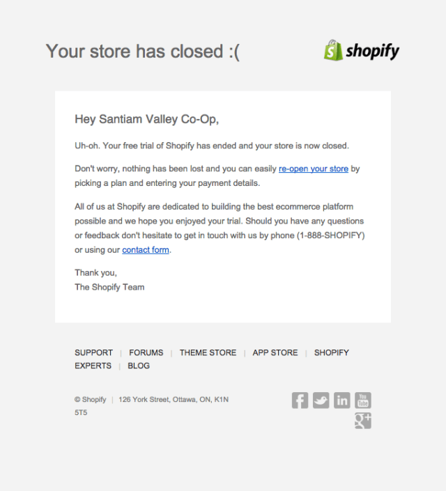 store closed triggered email