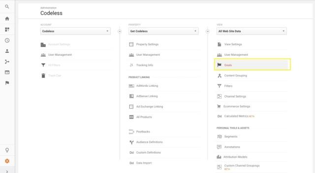 goals in google analytics admin