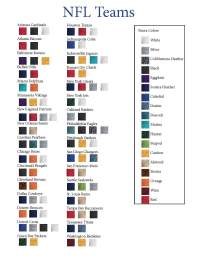 Nfl Team Colors Printable Chart