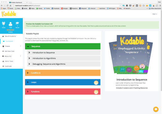 Kodable Programming Curriculum Dashboard