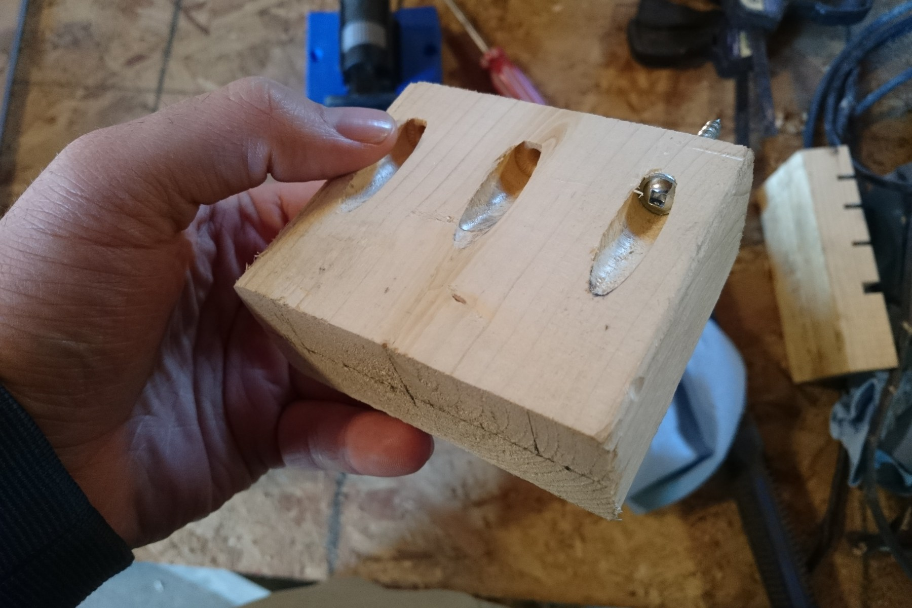 Practice run with pocket holes on a spare piece of wood.