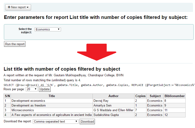 A custom subject-wise report of titles with author name, no. of copies, subject name in serialized listing
