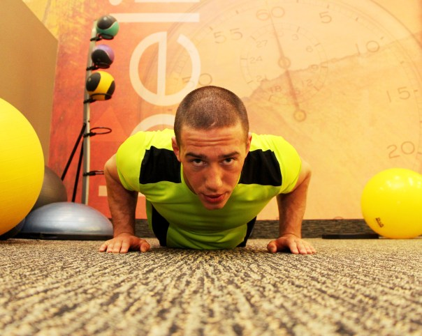 Bryant doing an explosive pushup at LA Fitness - B