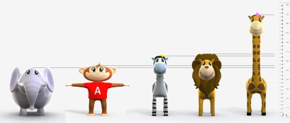 A line up of some of Spanish Safari's main characters. Esteban looks older, but he is too small when compared to the other animals.