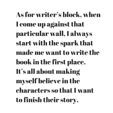 As for writer's block, when I come up