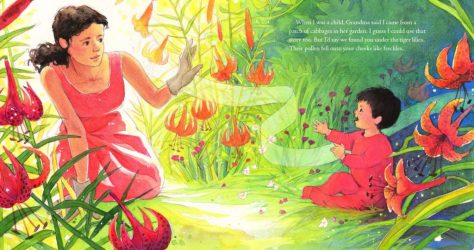 a spread from The Story I'll Tell, illustrated by Jessica Lanan