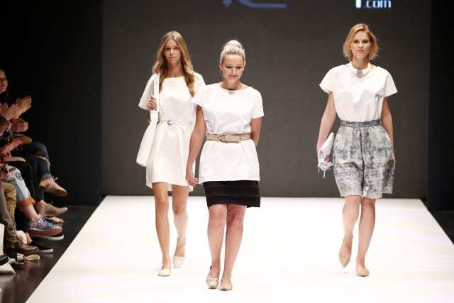 Designer and models walk the runway at the Fashionyard Meets Platform Fashion show during Platform Fashion July 2015 at Areal Boehler on July 25, 2015 in Duesseldorf, Germany.  (Photo by Andreas Rentz/Getty Images for Platform Fashion)