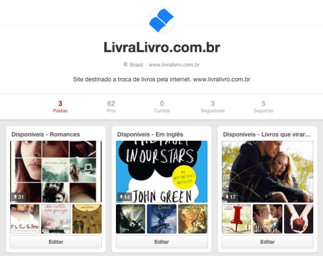 LivraLivro: Acompanhe a gente no Pinterest!