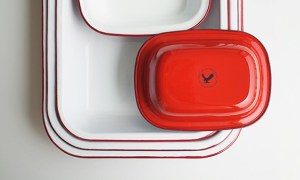 new :: Red and Black Falcon Enamelware