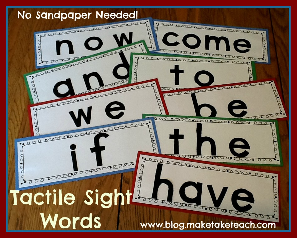 Tactile Sight Word Cards- No Sandpaper Needed! - Make Take  Teach