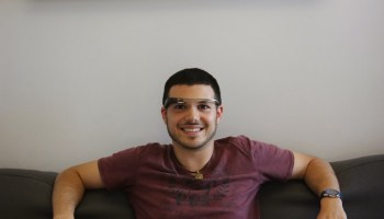 Mario with Google Glass at NYC Glass Headquarters