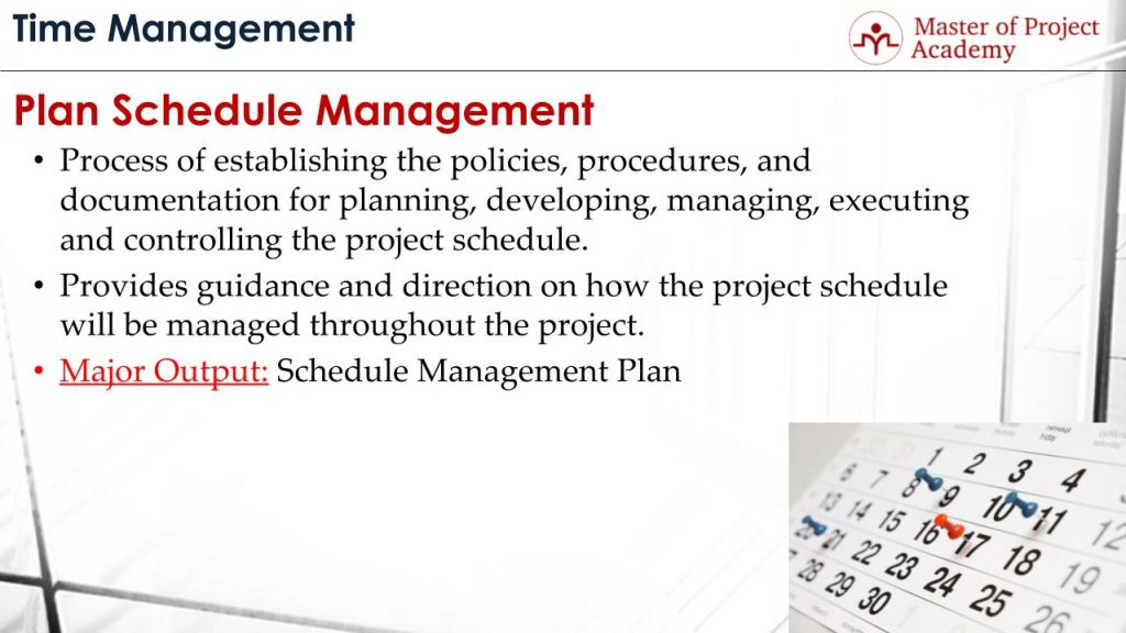 Plan Schedule Management Process 9 Items to Include in the Plan