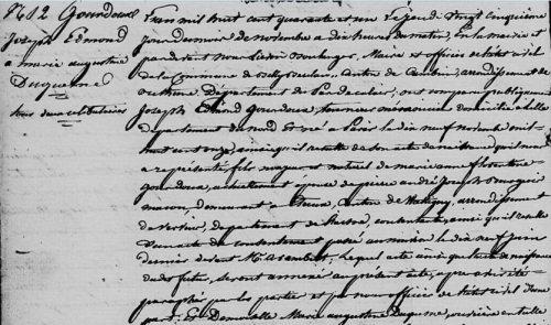 Acte de mariage - Gourdoux Duquesne - 1841