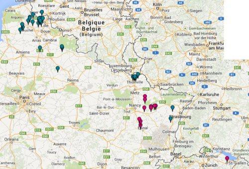Carte géographique de mes ancêtres