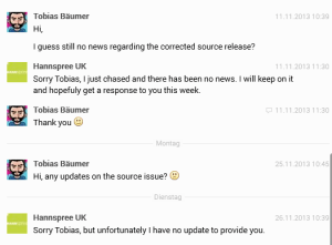 response(s) from Hannspree UK regarding sn97t41w sources