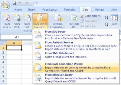 The Data Connection Wizard provides a number of Microsoft data ...