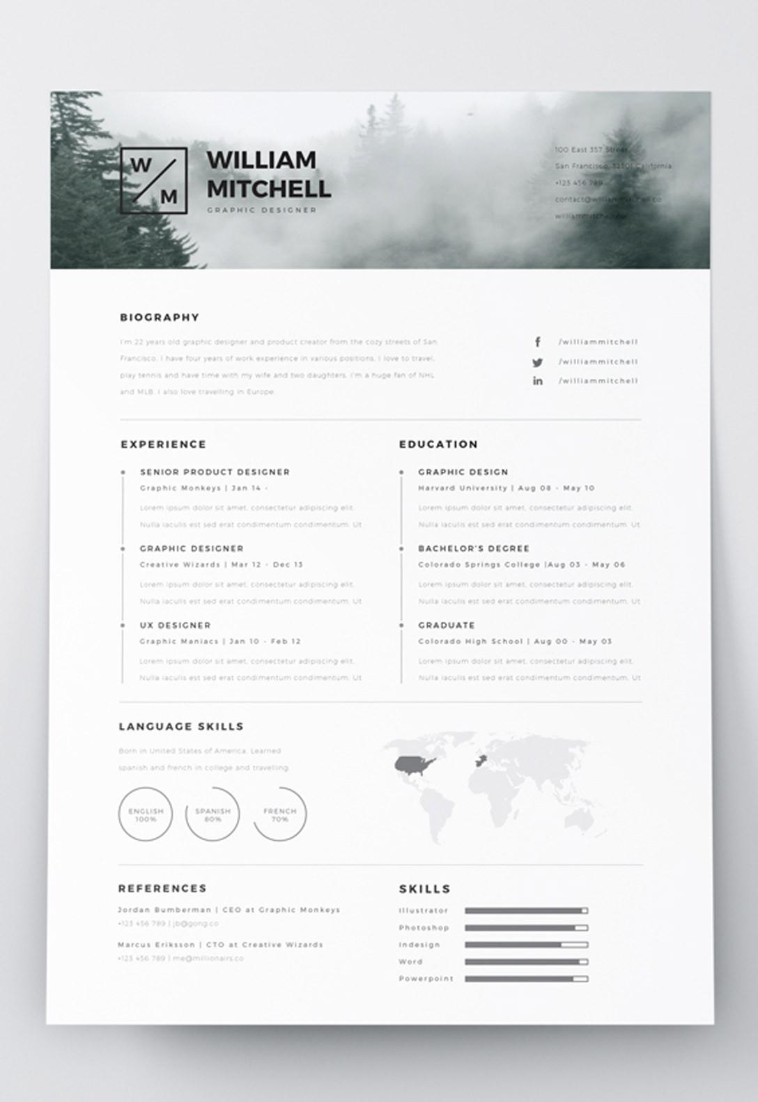 template cv minimalist