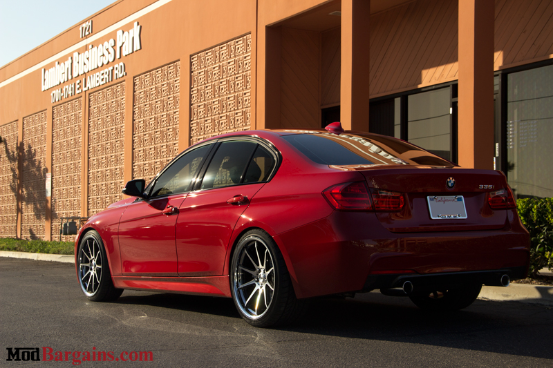 Red BMW 335i F30 Rear