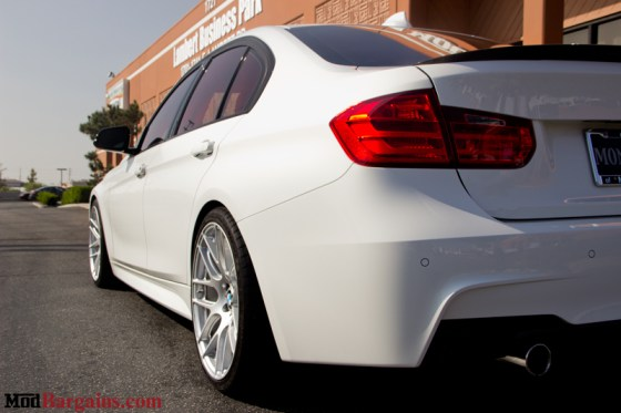 White BMW M-Sport F30 335i Rear Lights Silver Rims