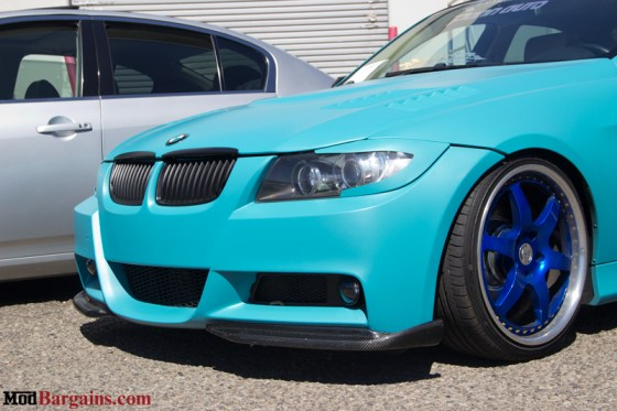 BMW E90 335i Wrapped in Matte Torquise Blue Wheels
