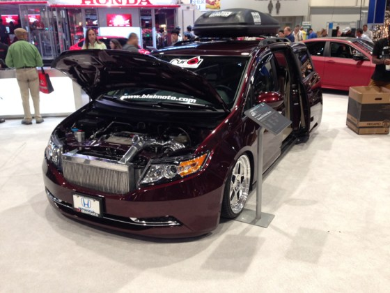 Burgundy Honda Odyssey Mini Van Modded Lowered