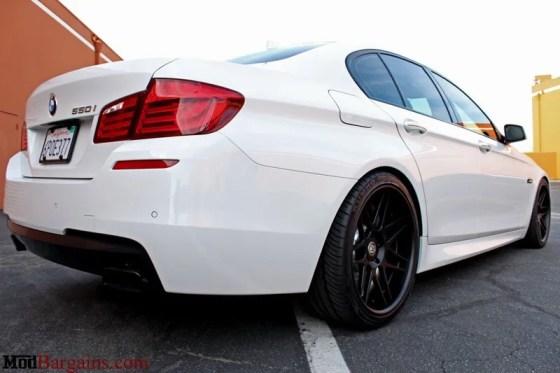 White BMW F10 550i Matte Black Wheels Rear Bumper Tail Lights