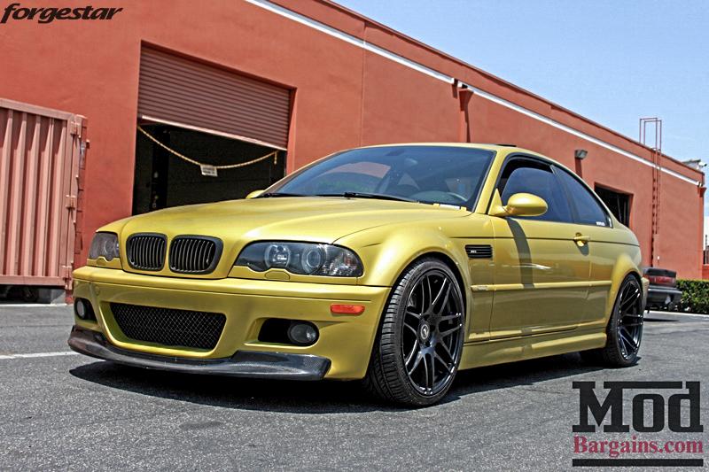 BMW E46 M3 Dakar Yellow Forgestar F14 Matte Black 19x9 19x10 (6)