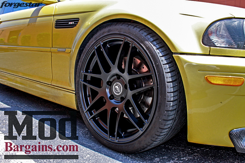 BMW E46 M3 Dakar Yellow Forgestar F14 Matte Black 19x9 19x10 (7)