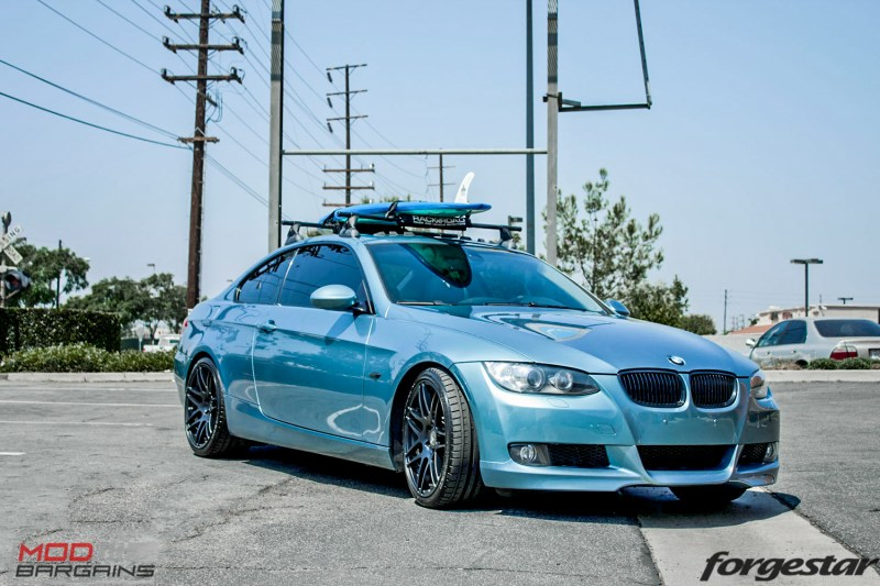 BMW E92 335i Atlantis Blue Forgestar F14 Matte Black 19-1-2