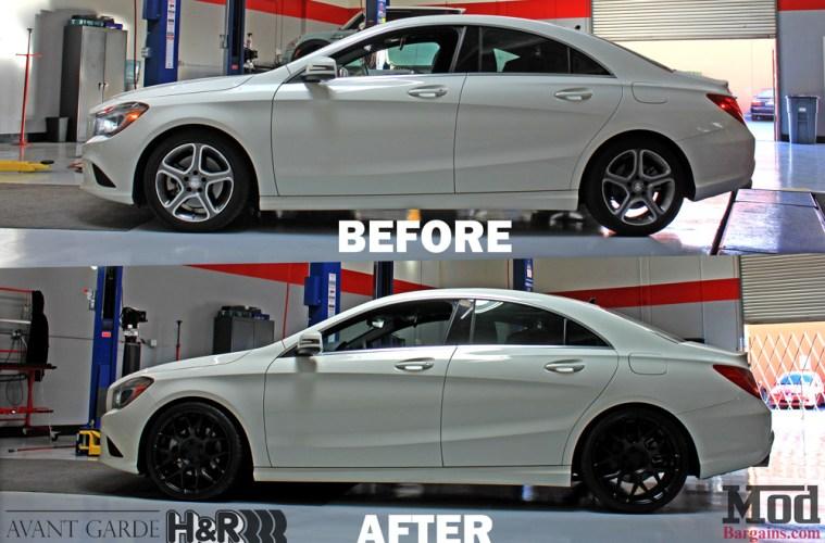 Mercedes_CLA250_HR_Springs_Avant_Garde_Black_Wheels_Before_After