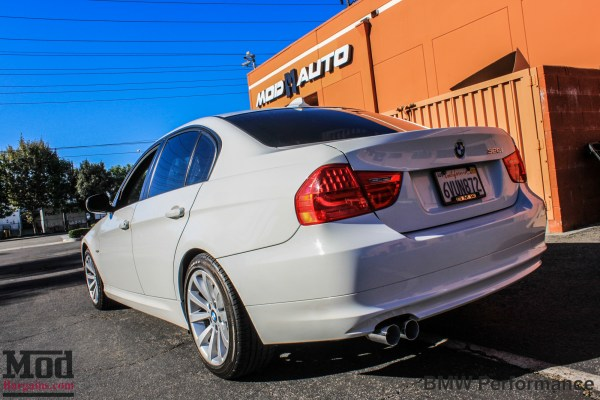 Quick Snap: E90 BMW 328i BMW Performance Exhaust Installed @ ModAuto