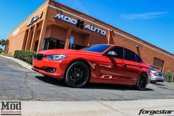 Quick Snap: Red-and-Carbon F30 BMW 328i on Semi-Gloss Black Forgestar F14 Wheels @ ModAuto