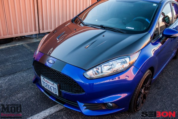 Cobb Stage III Fiesta ST gets mountune Spoiler Extensions + Vented Carbon Fiber Hood @ ModAuto