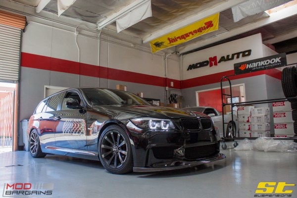 "Quick Snap: Blacked Out BMW E91 328i ""666"" on ST Coilovers Gets Aligned"