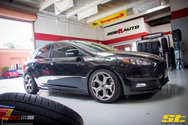 Crom's Focus ST gets low on ST Coilovers at ModAuto