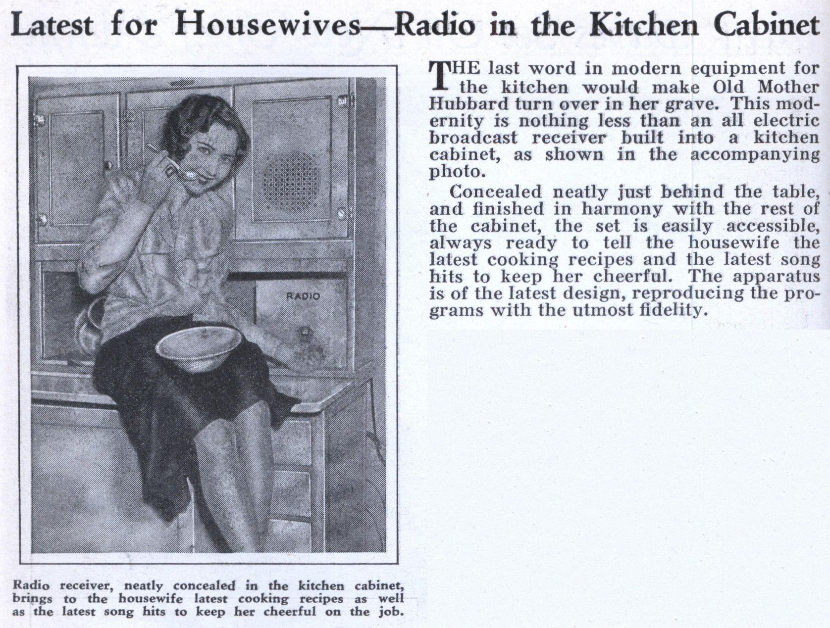 Kitchen Cabinet Radio Latest For Housewives Radio In The Kitchen Cabinet Modern Mechanix
