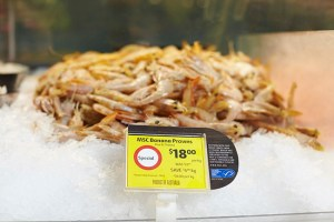 MSC banana prawns on ice in Coles supermarket