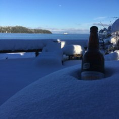 Beer Bottle in the Snow