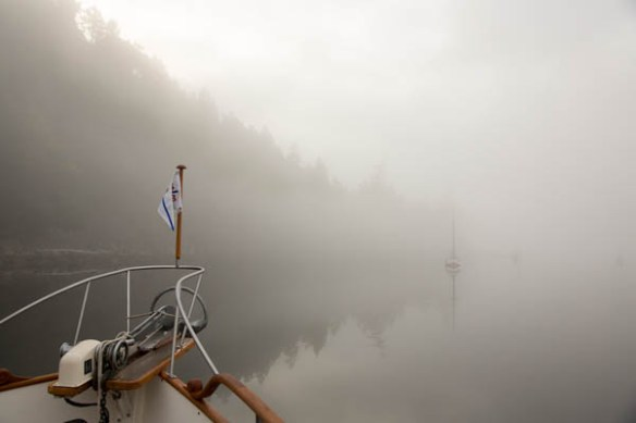 mv Archimedes foggy Montague Harbour morning 2