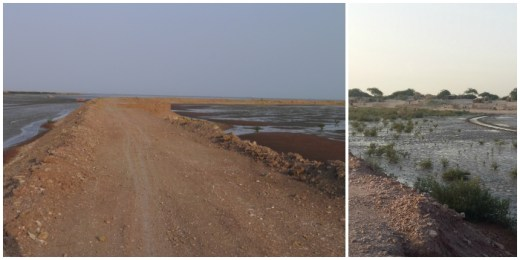 On the left, a view of the bund built on the inter-tidal area. Photograph courtesy Kanchi Kohli. On the right, a view from the bund showing mangroves and the temporary settlements of fisherfolk. Photograph courtesy Bharat Patel.