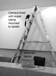 camera mounted to ladder for architectural photography