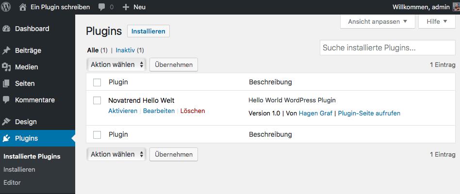 Ein Plugin für WordPress entwickeln