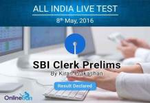 SBI Clerk Prelims All India Test 2016 Result Declared
