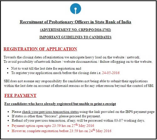 SBI PO Fee Payment Date Extended from 24 to 27 May 2016