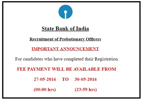 SBI PO Last Date of Fee Submission